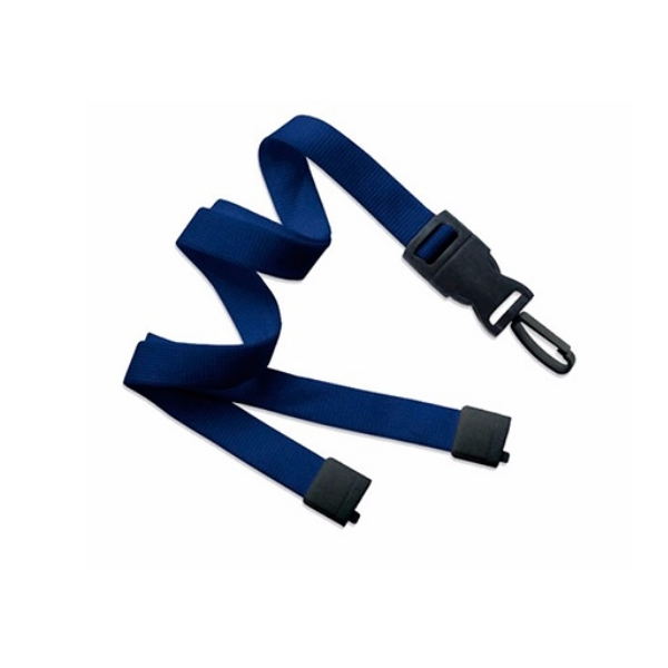 Portagafete cordon ancho azul gancho plastico